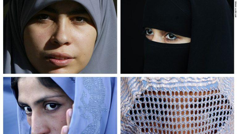 мусульманские женщины носят различные типы исламских вуали, хиджаб (верхний L), A Никаб (верхняя R) а Tchador (вниз L) и паранджу