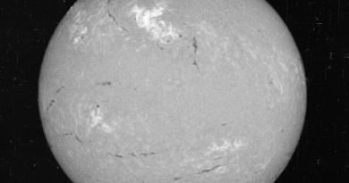 Вид Солнца 23 мая 1967 года, в узком видимом диапазоне длины волны света называется Водород-альфа. Яркая область в верхней центральной области яркости показывает область, где произошла крупная вспышка. (Национальная солнечная обсерватория исторический архив.)